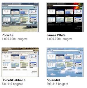 Her er de populære Chrome themes