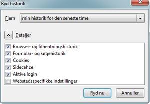 Slet sporene i Firefox