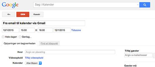 Email i Gmail til kalender
