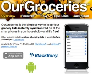 Indkøbsseddel på nettet