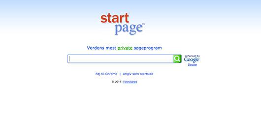 Søg anonymt med Startpage